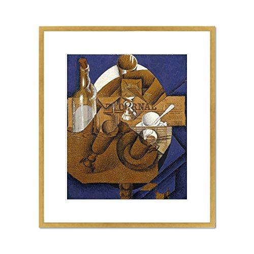 Verres Et Bouteille Le Journal - Trasse, Verres Et Bouteille (Le Journal) by Juan Gris, . Framed Art Print
