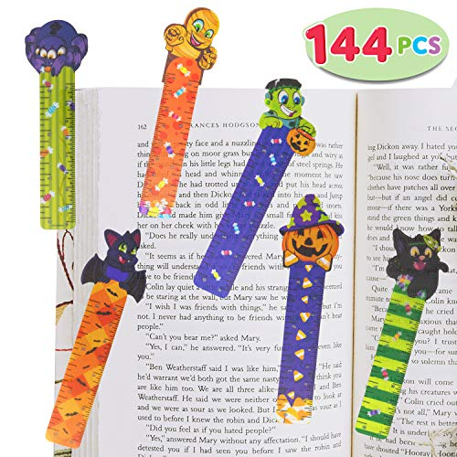 Halloween Bookmark Craft (144 PCs Halloween Bookmark Rulers Party Favor Pack (6 Designs) with Halloween Themed Prints for Holiday Decorations, Goodies, Halloween Party Décor, Classroom Rewards, and Trick or Treat)