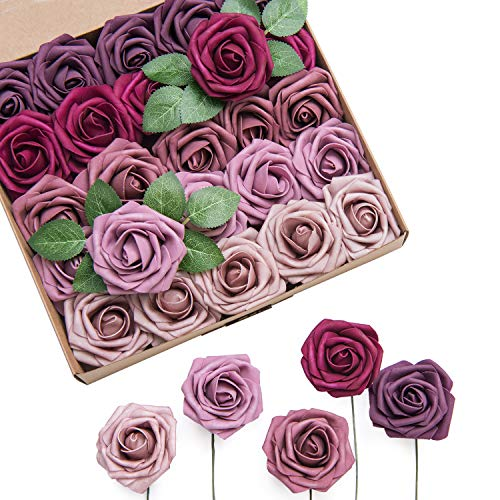 Ling's moment Roses Artificial Flowers Ombre Colors 25pcs Realistic Mauve Berry Fake Roses with Stem for DIY Wedding Centerpieces Bouquets Decorations]()