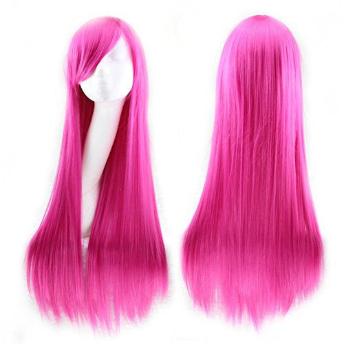 TopWigy Girl's Cosplay Hair Wigs with Bangs Long Straight Hair Heat Resistant Costume Party Full Cosplay Wigs with Wig Cap (Rose) 32