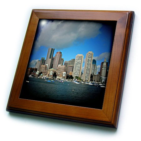 3dRose ft_21730_1 Boston Downtown Skyline in Spotlight-Framed Tile Artwork, 8 by 8-Inch