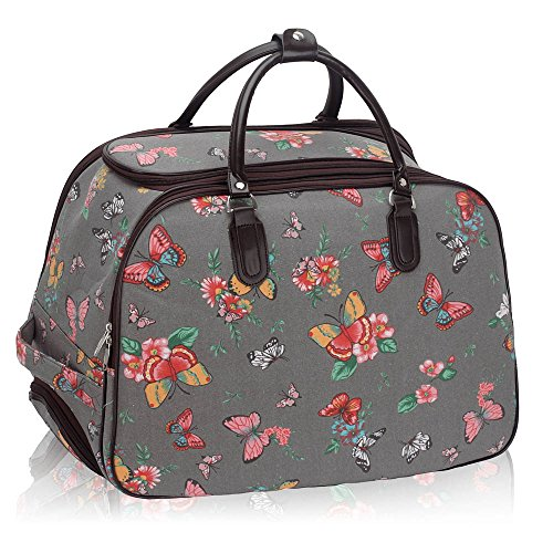 Luggage Wheel Butterfly Travel Large LeahWard® BUTTERFLY Grey Bag Holdall L BLUE Size With tHw0gO