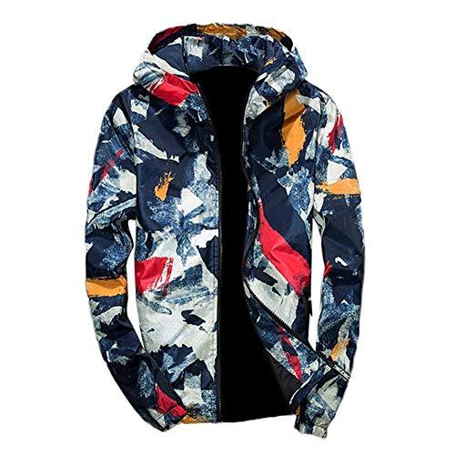 T-shirt Hood Yellow - Mens Sport Jacket Camouflage Graffi Print Long Sleeve Hoodie Zip up Lightweight Coat by Lowprofile