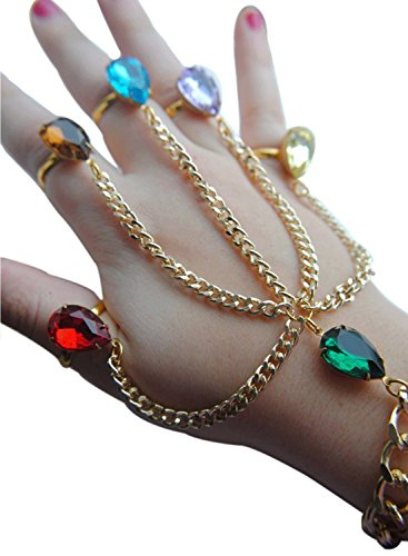 (Gauntlet Hand Bracelet - Slave Chain Link with Precious Stone Rings Bracelets Merchandise Gift for Women)