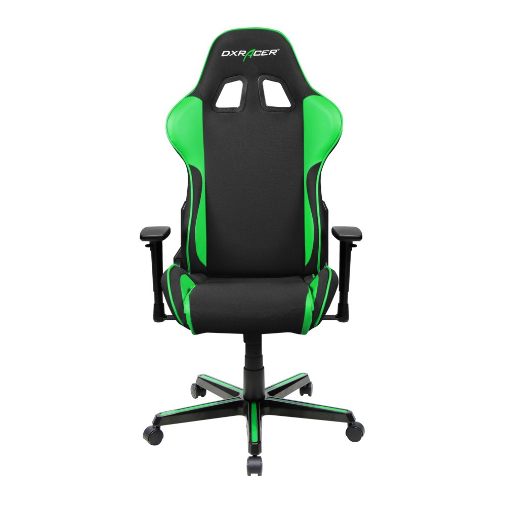 DXRacer Formula Series DOH/FH11/NE Newedge Edition Office Chair Recliner Esport WCG IEM ESL Dreamhack PC Gaming Chair Ergonomic Computer Fabric Chair Rocker Comfortable Chair With Pillows(Black/Green)