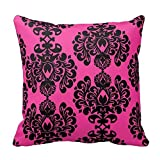 "Cotton Square Decorative Throw Pillow Case Cushion Cover Hot Pink And Black Damask Throw Pillow Cover 16"" x 16"""