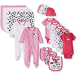 Gerber Baby Girls' 19 Piece Baby Essentials Gift Set, Dalmatian, Newborn