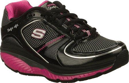 Skechers Women's Shape Ups S2 Lite Lace-Up Fashion Sneaker,Black Hot Oink,9.5 M (Skechers Shape)