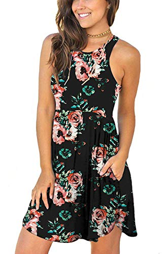 MOLERANI Women's Summer Floral Dresses Sleeveless Tunic T Shirt Swing Dresses Black Red Flower XL
