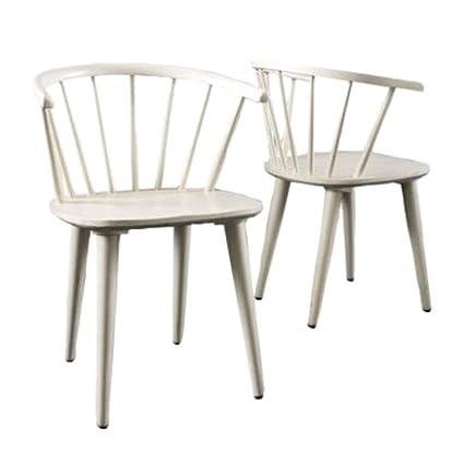 Amazoncom Arrowback Dining Chairs Antique White Rubberwood 2