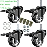 DICASAL 2 Inch Stem Casters, Heavy Duty Swivel Stem Casters PU Foam Quite Mute No Noise Castors Markless Wheels Double Bearings and Locks Loading 330 Lbs Pack of 4 with Brake Black