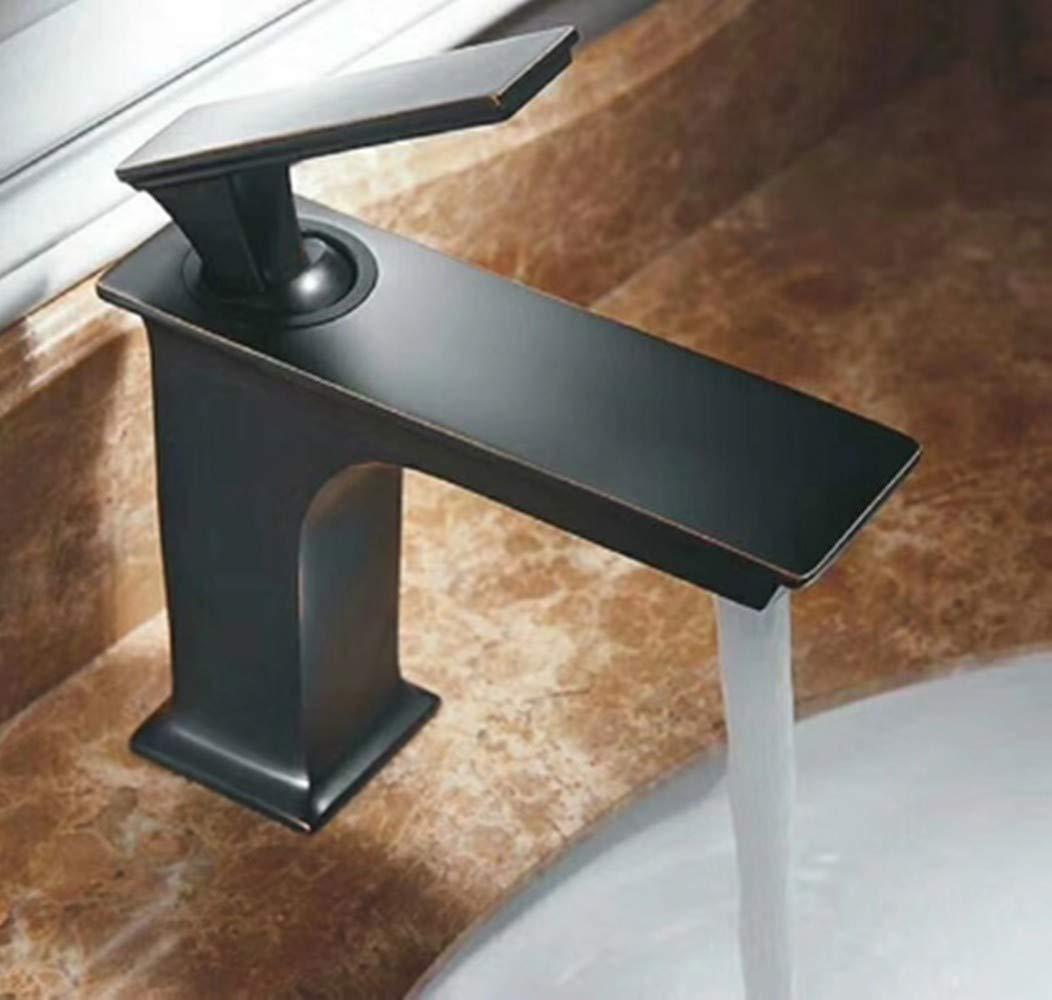 B Cucsaist Faucet Copper Black Basin Retro Bathroom Vanity Basin Antique Hot And Cold Water Faucet, A