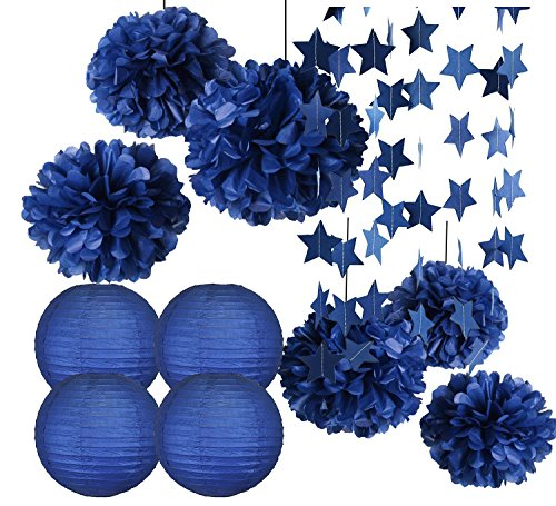 Furuix Big Size Navy Bridal Shower Decorations 14pcs Navy Blue Star Garland Tissue Paper Pom Pom Paper Lanterns for Navy Blue Wedding/Birthday Party Decorations Outer Space Decor