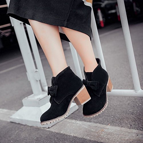 Mee Shoes Damen mit Schleife chunky heels Plateau Nubukleder Ankle Boots Schwarz