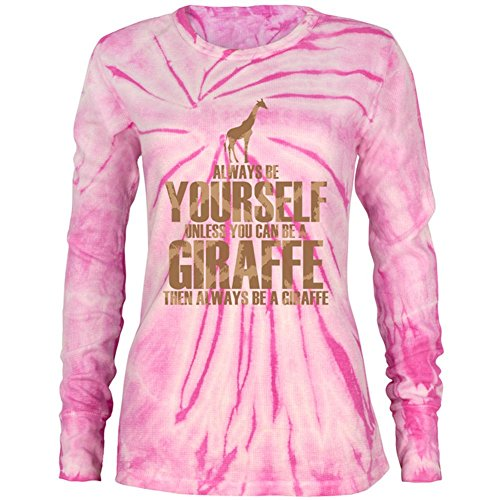 (Always Be Yourself Giraffe Juniors Long Sleeve Thermal Shirt Pink Spiral Tie Dye SM)