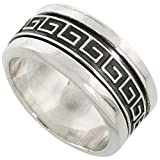 Sterling Silver Mens Spinner Ring Greek ...