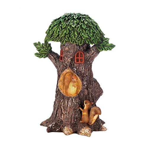 - Summerfield Terrace Outdoor Solar Figurines, Playful Squirrels Treehouse Garden Solar Yard Statues