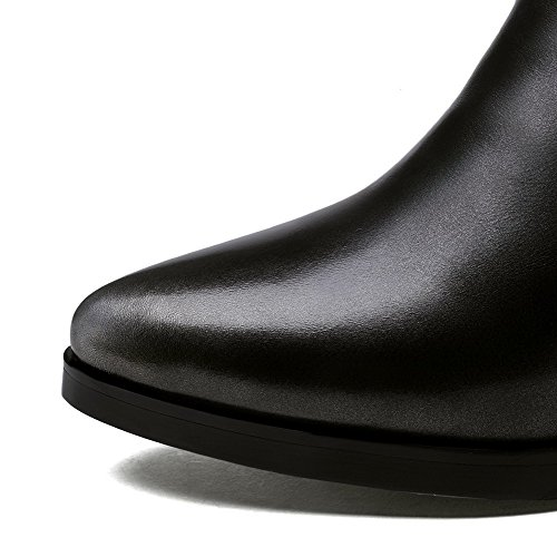 AmoonyFashion Womens Pointed-Toe Closed-Toe Kitten-Heels Boots With Rubber Soles and Chunky Heels Grey AvO3JXGYo