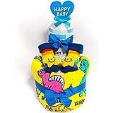 19016 おむつケーキ2段 男の子 お星さまのベビーソックス 恐竜のタオルスタイ オムツケーキ出産祝い