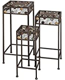 Deco 79 Metal/Ceramic Plant Stand 12-Inch, 23.5-Inch, 29-Inch, Set of 3