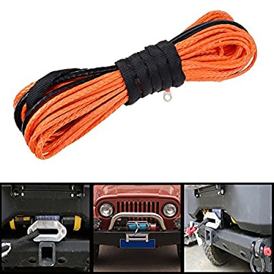 """3/16"""" x 50' Universal ORANGE Synthetic Fiber Winch Rope Cable 5400+ LBs Recovery For SUV ATV Pickup Truck"""