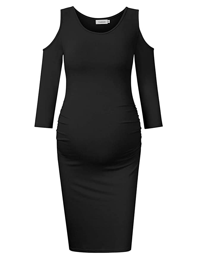 Coolmee Womens Cold Shoulder Maternity Dress 3/4 Sleeves Ruched Sides Bodycon Dresses at Amazon Womens Clothing store: