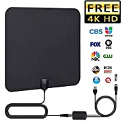 #LightningDeal TV Antenna, 2019 Newest HDTV Indoor Digital Amplified Antennas?50-80 Miles Long Range with Amplifier Signal Booster for 1080P 4K Free TV Channels, Amplified 13ft Coax Cable