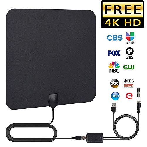 TV Antenna, 2019 Newest HDTV Indoor Digital Amplified Antennas,50-80 Miles Long Range with Amplifier Signal Booster for 1080P 4K Free TV Channels, Amplified 13ft Coax Cable ()