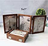 leoyoubei 3-Opening Hinged Collage Frame,6 photos show double-sided photo frame silver-color Hinges, Folding Photo Frame With Glass Front (5x7 Brown)