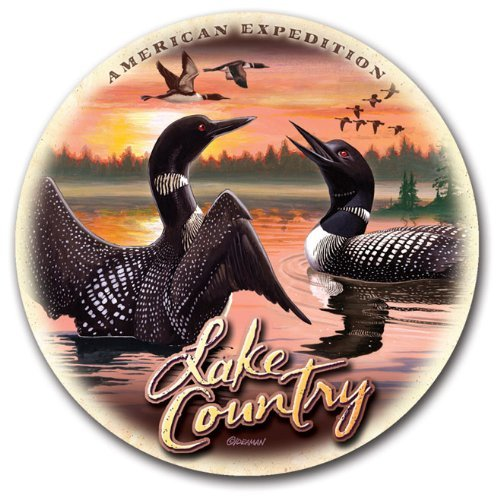 (Stone Coaster Sets Regional Collage Design (Lake Country Loon Scene))