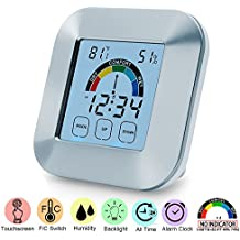 Digital Hygrometer Thermometer - Touchscreen Indoor Humidity Gauge Temperature Humidity Monitor with Backlight LCD Display Humidity Meter Humidity Sensor for Humidifiers Dehumidifiers Babyroom