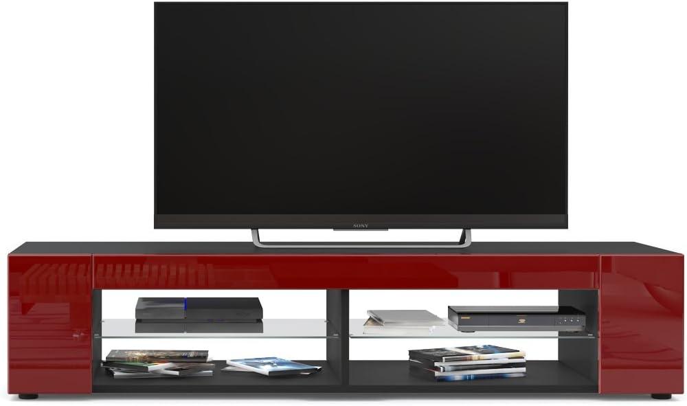 TV Board Lowboard Movie LED Beleuchtung in Blau Korpus in Schwarz matt//Fronten in Avola-Champagner inkl