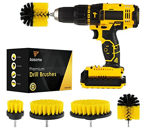 BOSOME Premium Drill Brush Set of 4 - Cleaning Kit - 4 Brush Designs - Bathroom, Kitchen, Toilet, Tile, Grout, Floor, Carpet, Rim, Shower, Tub, Indoor and Outdoors Power Scrubber - Drill Attachment