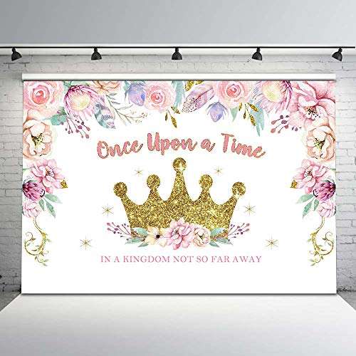 Mocsicka Princess Birthday Party Backdrop Gold Glitter Crown Floral Photo Background 7x5ft Once Upon a Time Princess Birthday Birthday Backdrops Cake Dessert Table Decors -