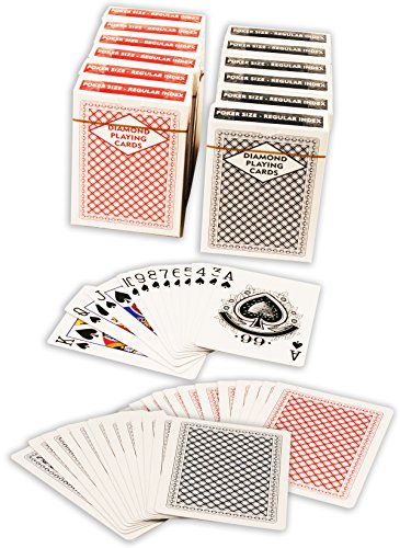 Diamond Playing Cards: 12 Decks (6 Red, 6 Blue) Poker Size Regular Index Plastic Coated Playing Cards by Da Vinci