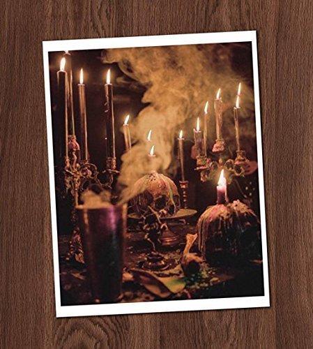 Creepy Skulls and Candles Altar Shrine Color Photo Vintage Art Print 8x10 Wall Art Halloween Decor