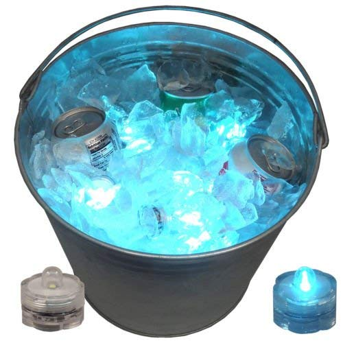 Ice Bucket 12 LED Submersible Lights Glow Celebration New Year's Eve Party Teal ()