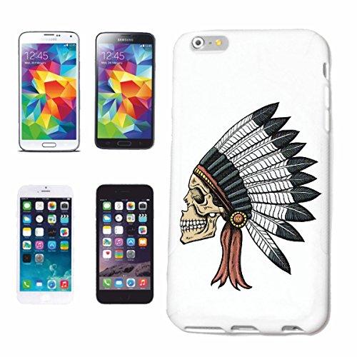 """cas de téléphone iPhone 7S """"Red Chief CRÂNE AVEC INDIAN HEADGEAR INDIAN WESTERN INDIENS"""" Hard Case Cover Téléphone Covers Smart Cover pour Apple iPhone en blanc"""