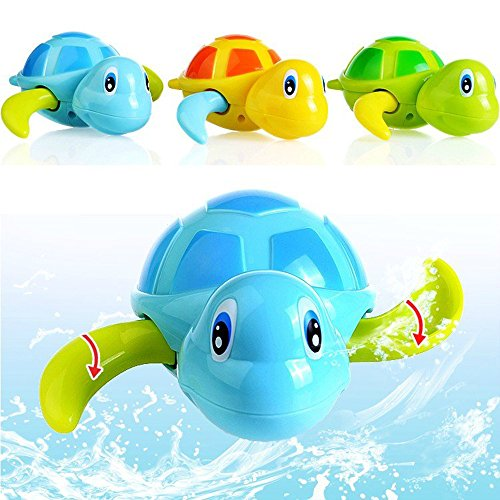 Daisy Best Gift Cute Turtle Animal Wind Up Chain Bath Water Toy Float Pool Swimming Tub Bathtub Playing Toy for Boys Girls - Set of 3