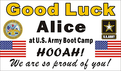 Alice Graphics 3ftX5ft Custom Personalized US Army Going Away Goodbye Farewell Deployment Party Banner Sign - Good Luck at US Army Boot Camp (Emblem and - Sign Luck