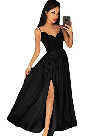 Amazon Ruisha Women Spaghetti Straps V Neck Slit Prom Dresses
