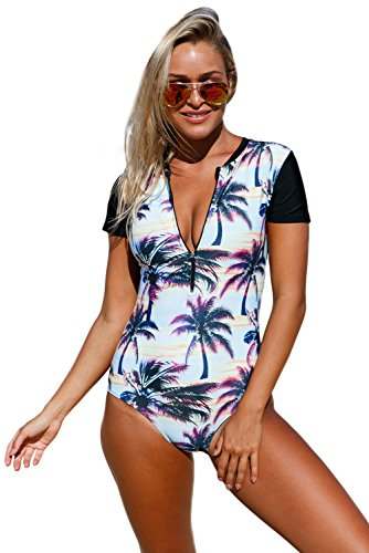 (Actloe Women Zip Front Beach Sunset Printed Short Sleeve One Piece Swimsuit Summer Swimwear Black Medium)