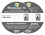 Windows 10 All-In-1 32 & 64 bit Reinstall Install DVD Disc Home and Professional - 2018 Universal Driver...