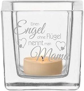 RUND Geschenk Muttertag Mutter van Hoogen /♥ Leonardo Teelicht Engel ohne Fl/ügel nennt Man Mama Teelicht mit Gravur Mutti Mama