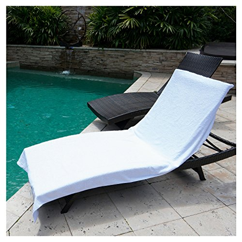 Winter Park Towel Co  Chaise Lounge Chair Cover Towel  40  X 90     Fitted Elastic Pocket Wont Slide  White