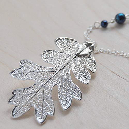 Enchanted Leaves - Extra Large Fallen Silver Oak Leaf Necklace - Woodland Forest Silver Plated REAL Oak Leaf