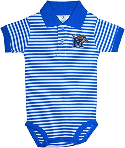 University of Memphis Tigers Newborn Infant Baby Striped Polo Bodysuit Royal/White