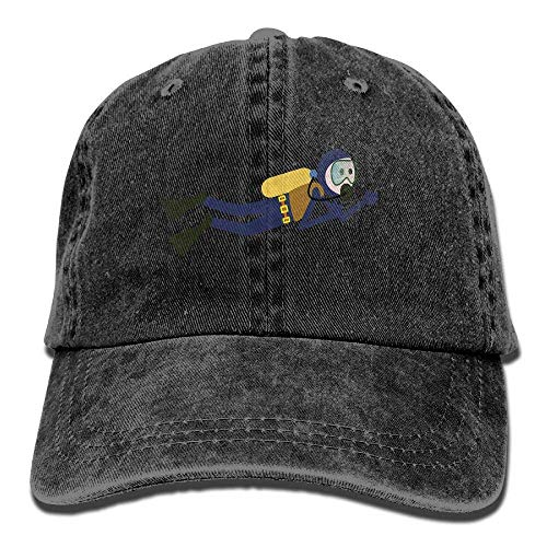 DEFFWB Hat Scuba Diver Denim Skull Cap Cowboy Cowgirl Sport Hats for Men Women