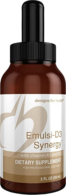 Designs for Health - Emulsi-D3 Synergy - 2000 IU Bioavailable Liquid Vitamin D + K1 + K2, 2oz