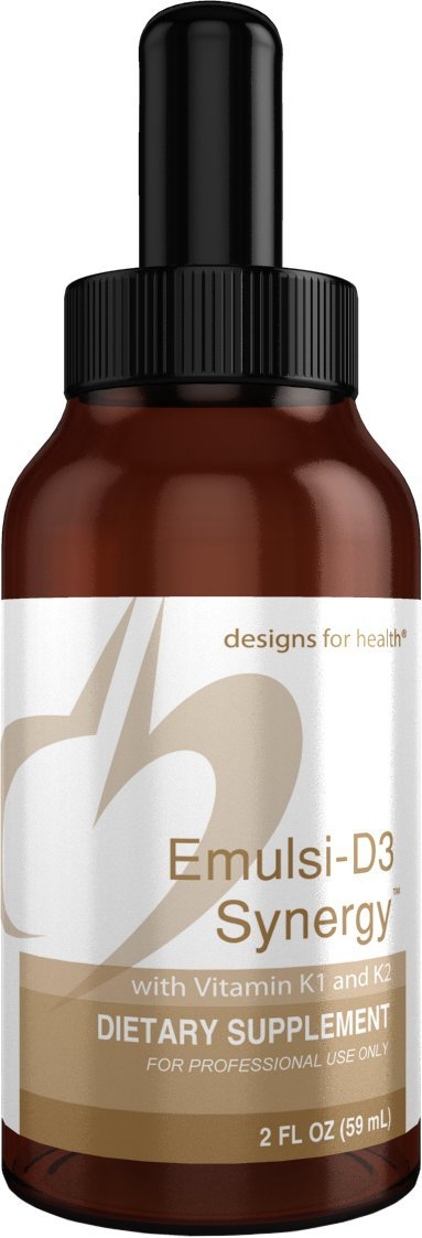 Designs for Health 2000 IU Vitamin D Drops with K1 + K2 - Emulsi-D3 Synergy (59 Servings, 2 Ounces)